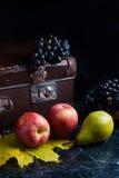 Klunga av blåa druvor och mogna frukter på mörk marmorbakgrund Royaltyfri Foto