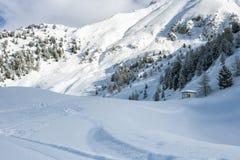 Klunga av chalet på en snöig berglutning Royaltyfria Foton