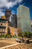 Klunga av skyskrapor i Boston, Massachusetts Royaltyfri Foto