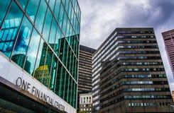 Klunga av skyskrapor i i stadens centrum Boston, Massachusetts Arkivbilder