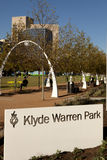 Klyde Warren Park. Is built over the Woodall Rodgers Freeway opened October 27, 2012 in Dallas, Texas. The park creates a greenway that connects the Uptown to Stock Photography