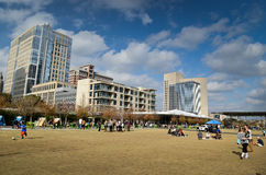 Klyde Warren Park in Dallas. Klyde Warren Park is built over the Woodall Rodgers Freeway opened October 27, 2012 in Dallas, Texas Stock Photos