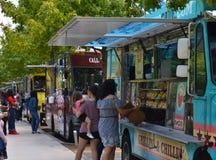 Klyde Warren Park, Dallas Food Trucks. Food trucks and eating area at Klyde Warren Park in Dallas, Texas stock photo
