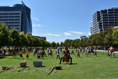 Klyde Warren Park in Dallas, Texas. The urban park is open to the public, but is operated by the private Woodall Rodgers Park Foundation Royalty Free Stock Image