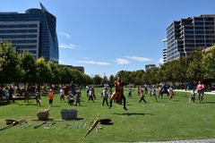 Klyde Warren Park in Dallas, Texas. The urban park is open to the public, but is operated by the private Woodall Rodgers Park Foundation Stock Photo
