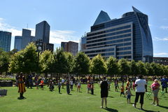 Klyde Warren Park in Dallas, Texas. The urban park is open to the public, but is operated by the private Woodall Rodgers Park Foundation Stock Image