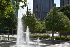 Klyde Warren Park in Dallas, Texas. The urban park is open to the public, but is operated by the private Woodall Rodgers Park Foundation Stock Photos