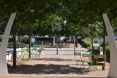 Klyde Warren Park in Dallas, Texas. The urban park is open to the public, but is operated by the private Woodall Rodgers Park Foundation Stock Photography