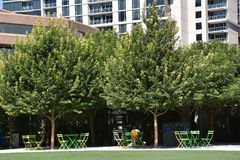 Klyde Warren Park in Dallas, Texas. The urban park is open to the public, but is operated by the private Woodall Rodgers Park Foundation Royalty Free Stock Photo