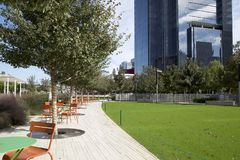 Klyde Warren Park in downtown of city  Dallas. Klyde Warren Park and modern buildings in downtown of city Dallas Texas USA Stock Images