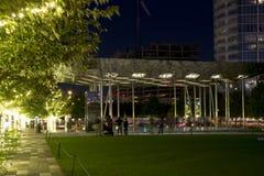 Klyde Warren Park night scenes. Klyde Warren Park and modern buildings at night, city Dallas TX USA Royalty Free Stock Photos
