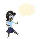 klyftig kvinna för retro tecknad film med tankebubblan royaltyfri illustrationer