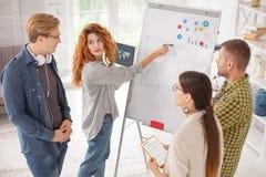 Klyftiga fyra kollegor som planerar utveckling Arkivfoto
