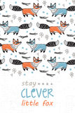 Klyftigt stag Kort för barn med rävar i tecknad filmstil vektor illustrationer
