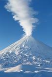 Klyuchevskoy Volcano: winter view of top of volcano eruption Royalty Free Stock Photography