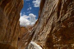1.2km长的道路(Siq)向Petra城市,约旦 免版税库存图片