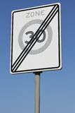 30 km/h zone. Dutch road sign: end of a 30 km/h zone Stock Photo