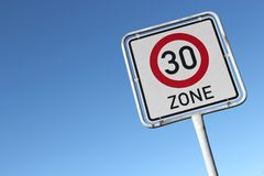 30 km/h zone. German road sign: start of a 30 km/h zone Stock Image