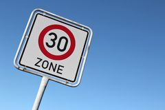 30 km/h zone Royalty Free Stock Photo