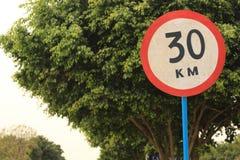 30KM het signaal van de tekenweg Stock Foto