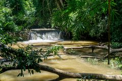 Mondulkiri, Cambodia. 18km hike to a Bunung Village in Cambodia - waterfall Royalty Free Stock Image