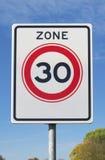 30 km-maximum snelheidstreek Royalty-vrije Stock Afbeelding