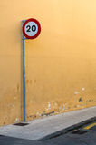 20 km or miles per hour speed limit sign Stock Photo