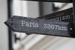 3367 km to Paris Stock Photo