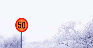 50kmh Höchstgeschwindigkeits-Verkehrsschild Stockbilder