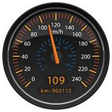 KMH Kilometers per Hour Speedometer Odometer Automotive Dashboard Gauge Vector Illustration. KMH Kilometers per Hour car dashboard gauge indicator with large KMH royalty free illustration