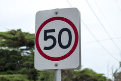 50 KMH-maximum snelheidteken Royalty-vrije Stock Fotografie