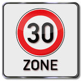 30 kmh zone. And speed limit Stock Images