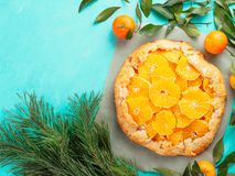 Kminkowy i pomarańczowy tarta Fotografia Royalty Free