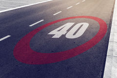 40 kmph or mph driving speed limit sign on highway Royalty Free Stock Images