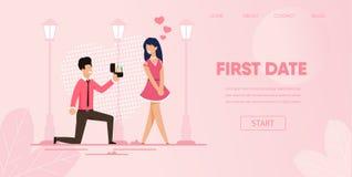 Knäpojkvän med Ring Make Proposal Girlfriend royaltyfri illustrationer