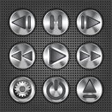 Knäppas den metalliska knoppen för multimedior royaltyfri illustrationer
