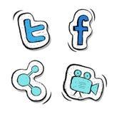 Knäppas uppsättningen Facebook disktanthögtalare som delar, video Uppsättning royaltyfri illustrationer