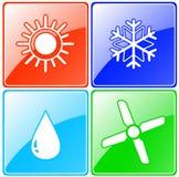 Knäppas uppsättningen med droppe, solen, snöflingan och fanen vektor illustrationer