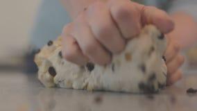 Knåda blandningen för fruktbröddeg Home bakning Grund fokus, lägenhetfärgprofil stock video