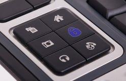 Knöpfe auf einer Tastatur - Verschluss Stockfoto