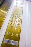 Knöpfe für das Vorwählen von Böden im Aufzug Stockfotografie