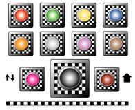 Knöpfe mit Schachbrettmotiv Stockfotos