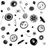 Knöpfe und Nadel-nahtlose Muster-Tinten-Zeichnung Lizenzfreies Stockbild