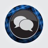 Knöpfen Sie mit blauem, schwarzem Schottenstoff - Spracheblasen Lizenzfreies Stockfoto