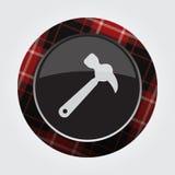 Knöpfen Sie mit rotem, schwarzem Schottenstoff - Tischlerhammerikone Stockbild