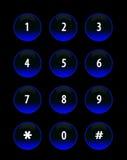 Knöpft blaues Neon Lizenzfreies Stockfoto