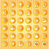 Knöpft orange Kreis mit goldener Grenze für Spiele vektor abbildung