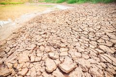 Kn?ckt jord i dammet, torka i Thailand royaltyfri bild