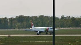 KNACKA LÄTT PÅ den Air Portugal nivån på landningsbana i den Frankfurt flygplatsen, FRA lager videofilmer