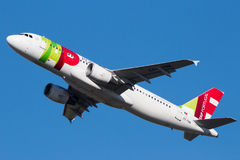 KNACKA LÄTT PÅ nivån för den Air Portugal flygbussen A320 royaltyfri foto